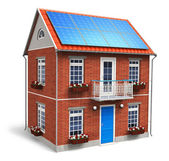 Residential house with solar batteries on the roof — Stock Photo