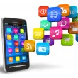 Smartphone with cloud of application icons — Stock Photo