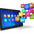 Tablet PC with cloud of application icons - Stockfoto