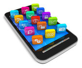 Touchscreen smartphone with application icons — Stock Photo
