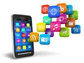 Smartphone med moln av programsymboler — Stockfoto