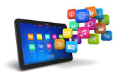 Tablet PC with cloud of application icons — Photo
