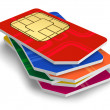 Set of color SIM cards - Stock Photo