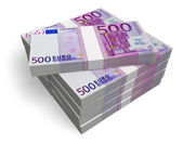 Stacks of 500 Euro banknotes — Stock Photo