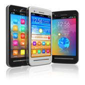 Set van touchscreen smartphones — Stockfoto