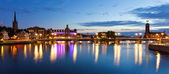 Evening panorama of the Old Town in Stockholm, Sweden — Stock Photo