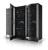 Racks para servidores con puerta abierta — Foto de Stock