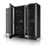 Server racks with open door — 图库照片