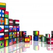 Collage from cubes with flags — Stock Photo