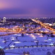 Night winter aerial panorama of Minsk, Belarus - Stock Photo