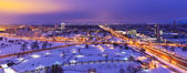 Night winter aerial panorama of Minsk, Belarus — Stock Photo