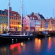 Stok fotoğraf: Evening scenery of Nyhavn in Copenhagen, Denmark