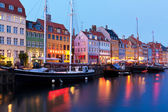 Evening scenery of Nyhavn in Copenhagen, Denmark — Stock Photo