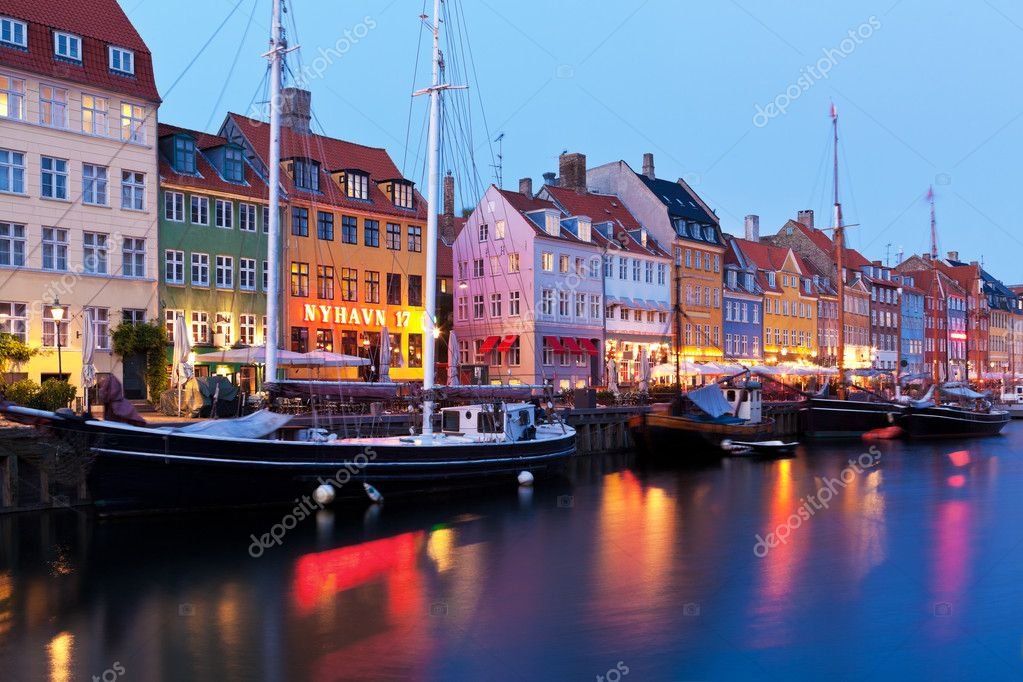 Scenic evening panorama of Nyhavn in Copenhagen, Denmark  Stock Photo #7421338