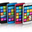 Set of color touchscreen smartphones — Stock Photo #7490001