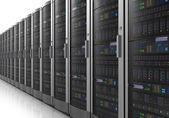 Row of network servers in datacenter — Stock Photo
