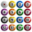 Set of color american billiard balls — Stockfoto