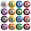 Set of color american billiard balls - Stock Photo