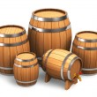 Set of wooden barrels — Stock Photo