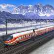 railroad station in mountains with high speed train — Stock Photo
