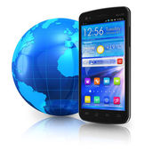 Touchscreen smartphone and Earth globe — Stock Photo