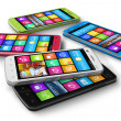 Set of color touchscreen smartphones — Stock Photo