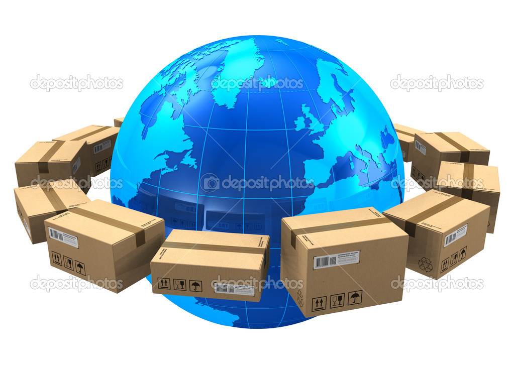 Worldwide shipping concept: row of cardboard boxes around blue Earth globe isolated on white background — Stock Photo #7657895