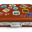 Royalty-Free Stock Photo: Leather travel suitcase with labels
