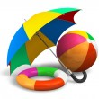 Beach items: color umbrella, ball and lifesaver - Stock Photo