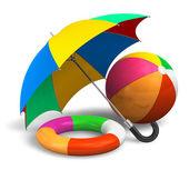 Beach items: color umbrella, ball and lifesaver — Stock Photo