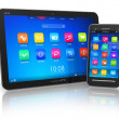 Stock Photo: Tablet PC and touchscreen smartphone