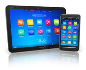 Tablet PC and touchscreen smartphone — 图库照片