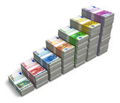Bar chart from Euro banknotes — Stock Photo