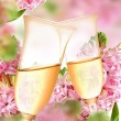 Royalty-Free Stock Photo: Decoration from hyacinth and champagne flutes