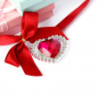Red heart, ribbon and gift boxes - Stock Photo