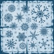 Set of different snowflakes over old damaged page. — Stock Vector #6847987