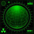Radar screen with digital globe and scale. - Stock Vector