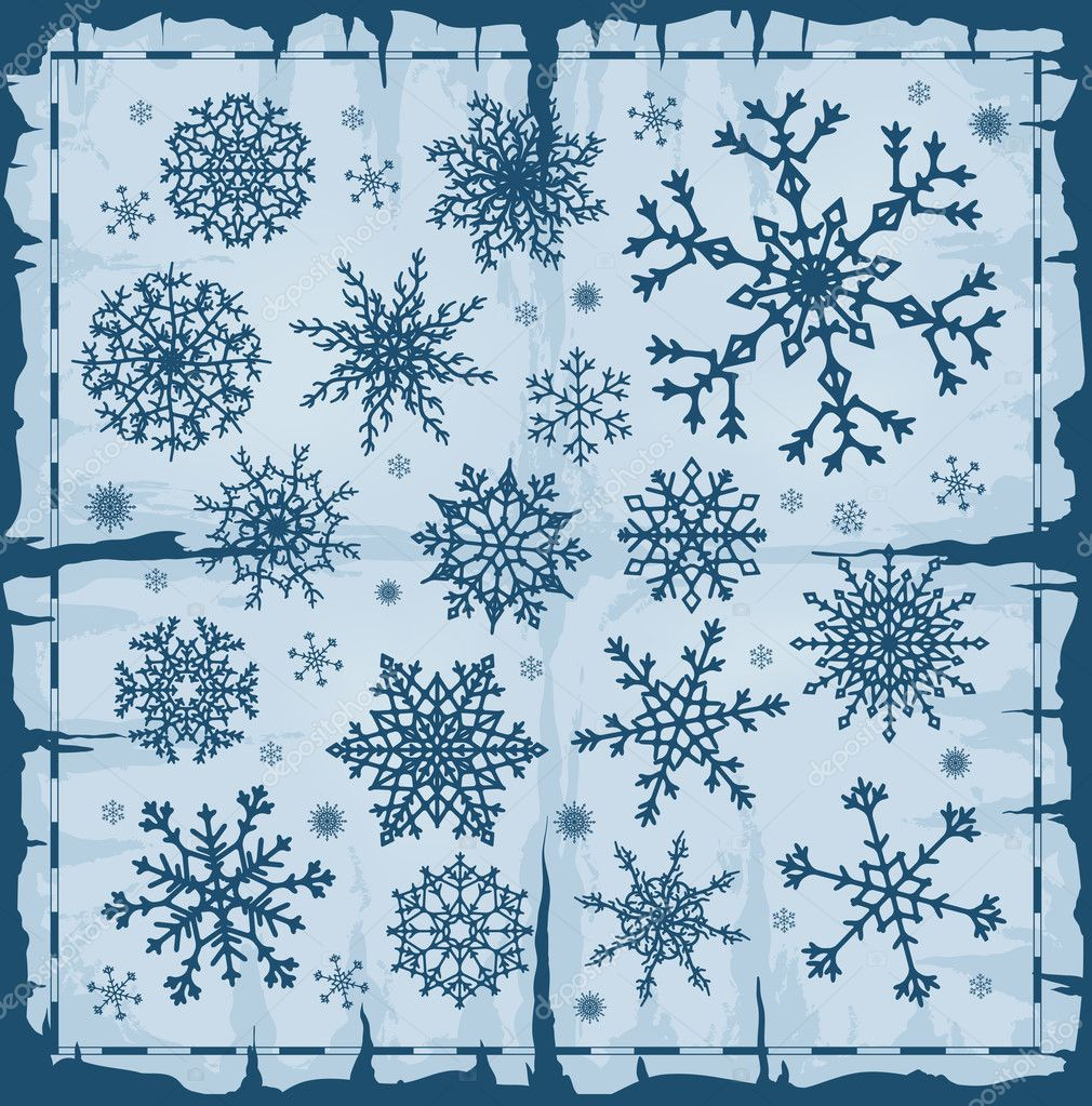 Set of different snowflakes over blue background. Vector EPS8.  — Stock Vector #6847987
