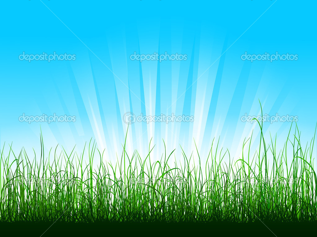 Green grass over blue sky with sunbeams — Stock Vector #6848216