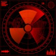 Radar screen with radioactive sign. — Stock Vector