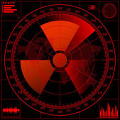 Radar screen with radioactive sign. — Vector de stock