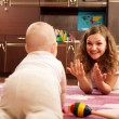 Mother playing with baby — Stock Photo #7628915