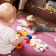 Brother and sister playing — Foto Stock