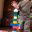 Little boy is building tower — Stock Photo #7658140
