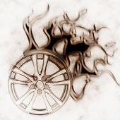 Burning wheel — Stock Photo