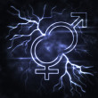 Man and woman thunderbolt - Stock Photo