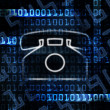 Stock Photo: Ip phone and binary code