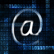 Electronic mail and binary code — Stock Photo