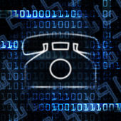 Ip phone and binary code — Stock fotografie