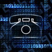 Ip telefon a binární kód — Stock fotografie